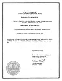 Vermont Good Standing Certificate Vt Certificate Of